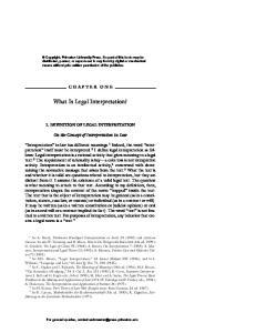 What Is Legal Interpretation?