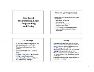 What is Logic Programming? History. The Paradigm