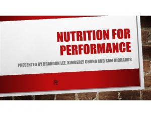 WHAT IS NUTRITION FOR PERFORMANCE?