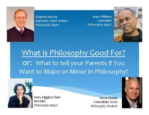 What is Philosophy Good For? or: What to tell your Parents if You Want to Major or Minor in Philosophy!