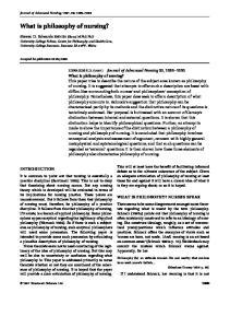 What is philosophy of nursing?