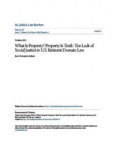 What Is Property? Property Is Theft: The Lack of Social Justice in U.S. Eminent Domain Law