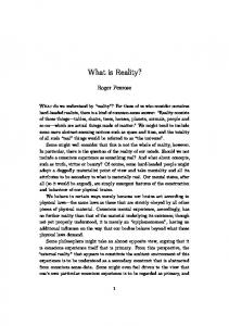 What is Reality? Roger Penrose