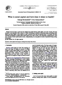 What is social capital and how does it relate to health?