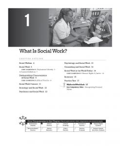 What Is Social Work? Social Welfare 4 Social Work 5. Psychology and Social Work 13 Counseling and Social Work 14 Social Work in the World Today 14