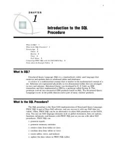What Is SQL? What Is the SQL Procedure? CHAPTER 1 Introduction to the SQL Procedure