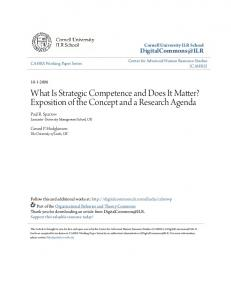 What Is Strategic Competence and Does It Matter? Exposition of the Concept and a Research Agenda