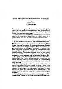 What is the problem of mathematical knowledge?