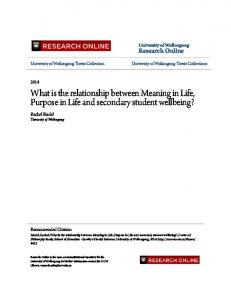 What is the relationship between Meaning in Life, Purpose in Life and secondary student wellbeing?