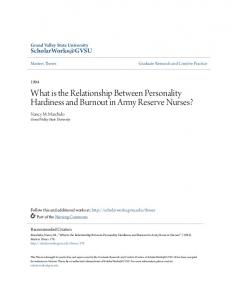 What is the Relationship Between Personality Hardiness and Burnout in Army Reserve Nurses?
