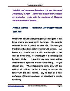 What is Valmiki - Valmika in Devanagari means ant- hill