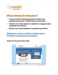 What is Weebly for Education?
