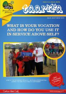 WHAT IS YOUR VOCATION AND HOW DO YOU USE IT IN SERVICE ABOVE SELF?