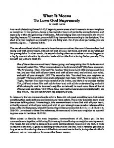 What It Means To Love God Supremely by David Bayne