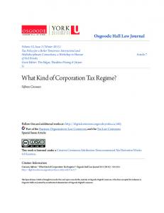 What Kind of Corporation Tax Regime?