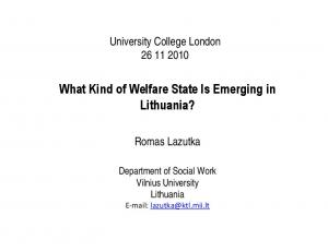 What Kind of Welfare State Is Emerging in Lithuania?