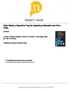 What Makes a Repulsive Frog So Appealing: Memetics and Fairy Tales