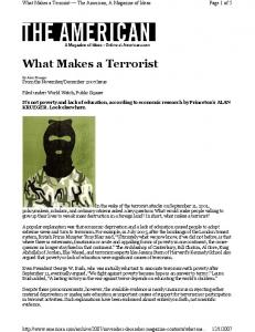 What Makes a Terrorist