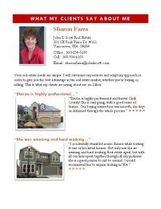 WHAT MY CLIENTS SAY ABOUT ME. Sharon Farra