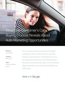 What One Consumer s Car- Buying Process Reveals About Auto Marketing Opportunities