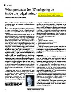 What persuades (or, What s going on inside the judge s mind)