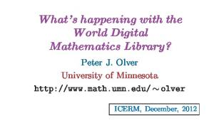 What s happening with the World Digital Mathematics Library?