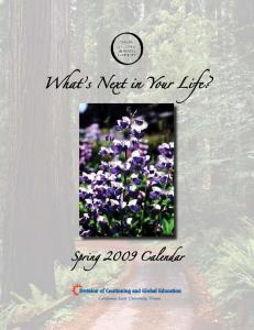 What s Next in Your Life? Spring 2009 Calendar