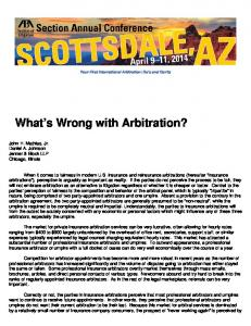 What s Wrong with Arbitration?