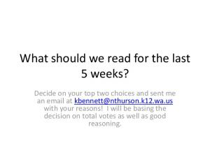 What should we read for the last 5 weeks?