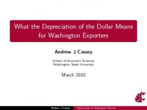 What the Depreciation of the Dollar Means for Washington Exporters