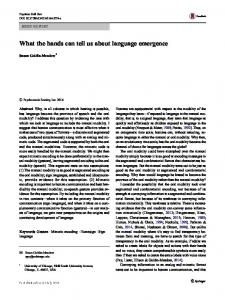 What the hands can tell us about language emergence