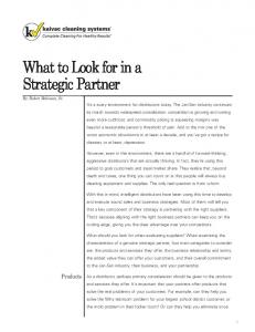 What to Look for in a Strategic Partner (continued)