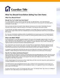 What You Should Know Before Selling Your Own Home