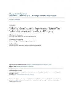 What's a Name Worth?: Experimental Tests of the Value of Attribution in Intellectual Property