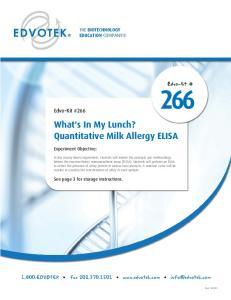 What's In My Lunch? Quantitative Milk Allergy ELISA