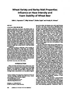 Wheat Variety and Barley Malt Properties: Influence on Haze Intensity and Foam Stability of Wheat Beer