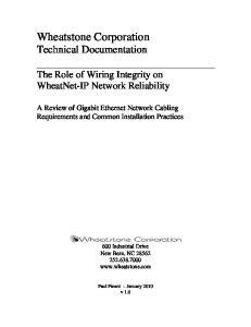 Wheatstone Corporation Technical Documentation