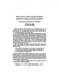 When Does a Correct Mutual Exclusion Algorithm Guarantee Mutual Exclusion?