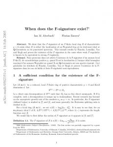 When does the F-signature exist?