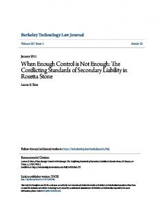 When Enough Control is Not Enough: The Conflicting Standards of Secondary Liability in Rosetta Stone