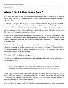 When REALLY Was Jesus Born?