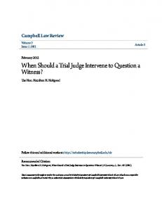 When Should a Trial Judge Intervene to Question a Witness?
