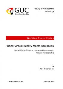 When Virtual Reality Meets Realpolitik