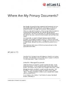 Where Are My Primary Documents?