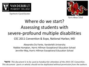 Where do we start? Assessing students with severe-profound multiple disabilities