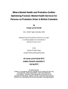 Where Mental Health and Probation Collide: Optimizing Forensic Mental Health Services for Persons on Probation Order in British Columbia
