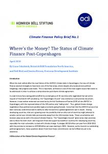 Where s the Money? The Status of Climate Finance Post-Copenhagen