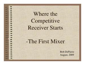 Where the Competitive Receiver Starts. -The First Mixer. Bob DePierre August, 2009
