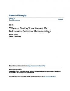 Wherever You Go, There You Are: On Individuative Subjective Phenomenology
