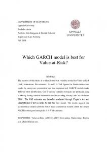 Which GARCH model is best for Value-at-Risk?